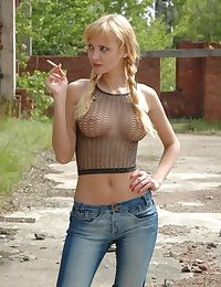 Perfect blonde Zina in see thru shirt