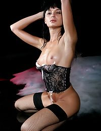 Olya strikes a sultry gaze towards hammer away camera as she sprawls on hammer away stained floor, her stained look, lace corset and fishnet stockings all enlarge to her allurement and beauty as hammer away universe goddess.