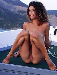 Bare bombshell on the sea
